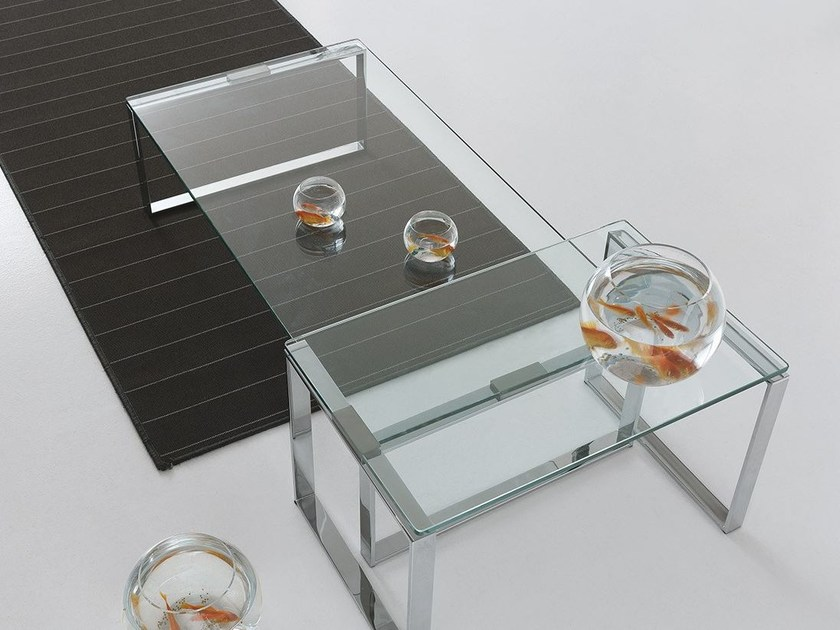 Low glass coffee table for living room DUO by Presotto