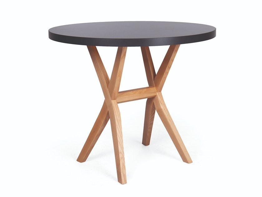 Round wooden dining table DUO RED by Fenabel