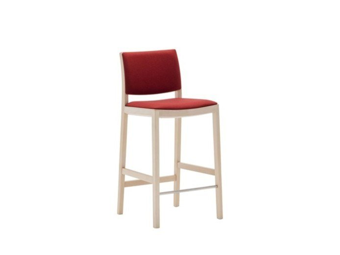 High upholstered wooden stool DUOS BQ2761 by Andreu World