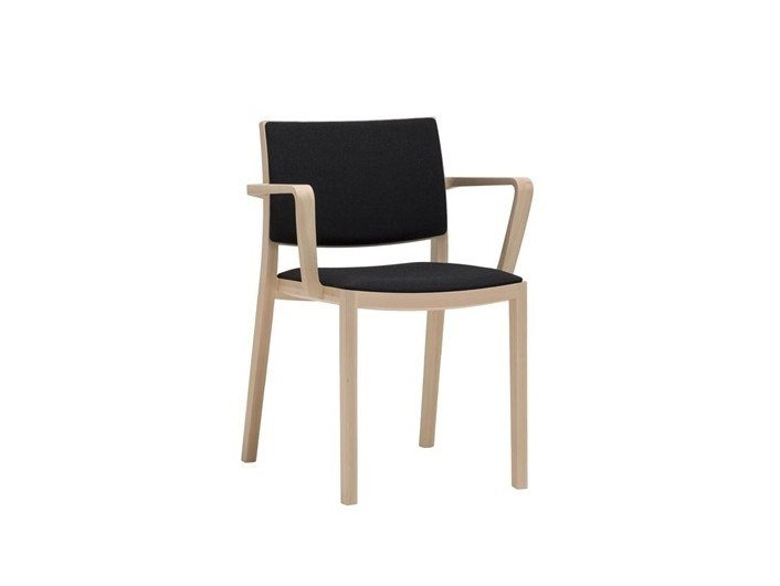 Upholstered wooden chair with armrests DUOS SO2753 by Andreu World