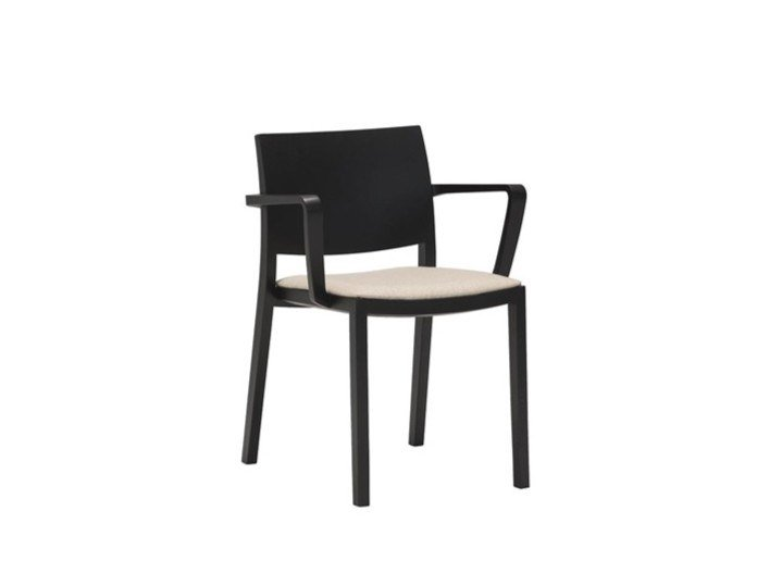 Wooden chair with integrated cushion DUOS SO2753 by Andreu World