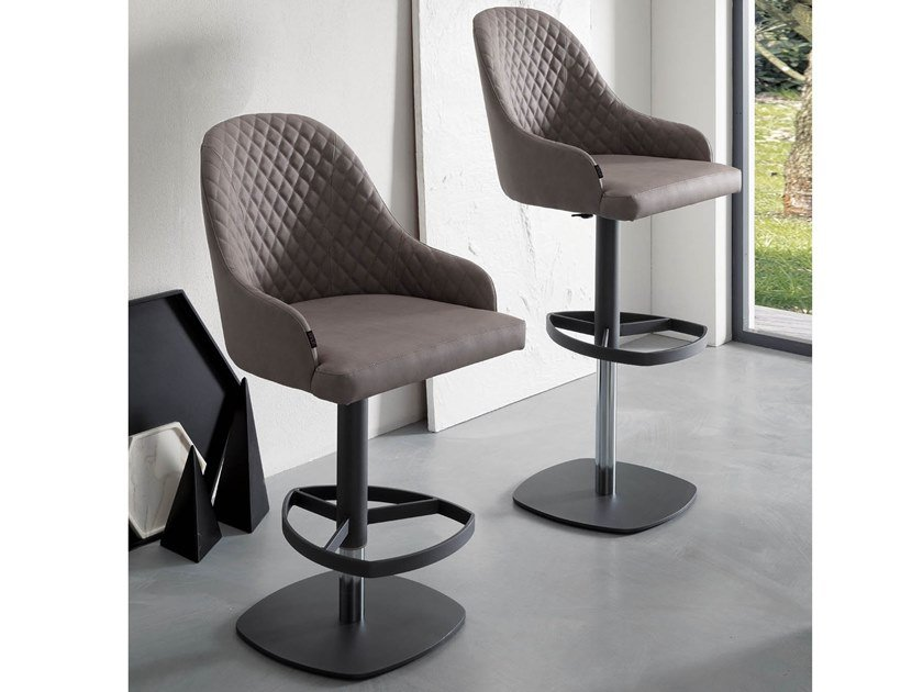 Upholstered leather stool with gas lift DYLAN by Ozzio Italia