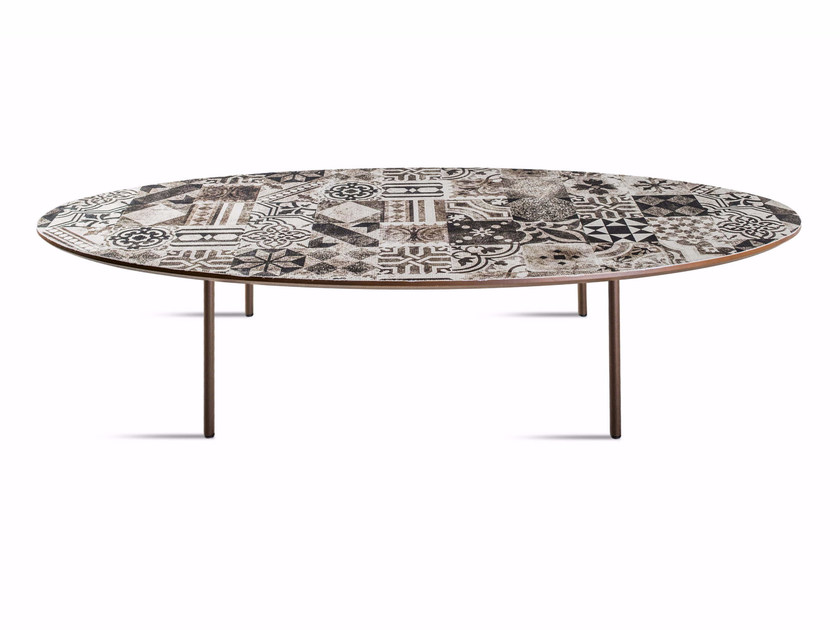 Low oval MDF coffee table E-122 by MOMENTI