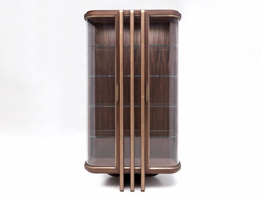 Wood and glass display cabinet E 1592 | Display cabinet by Annibale Colombo