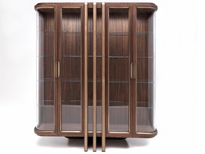 Wood and glass display cabinet E 1593 | Display cabinet by Annibale Colombo