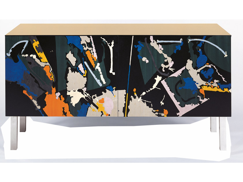 Lacquered Sideboard With Doors E F 2 Intarsia Uno Collection By