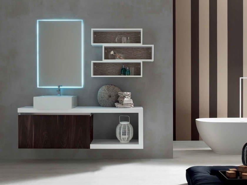 Single wooden vanity unit E.GÒ - COMPOSITION 15 by Arcom