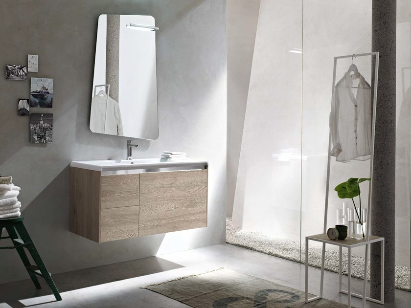Single wooden vanity unit E.GÒ - COMPOSITION 37 by Arcom