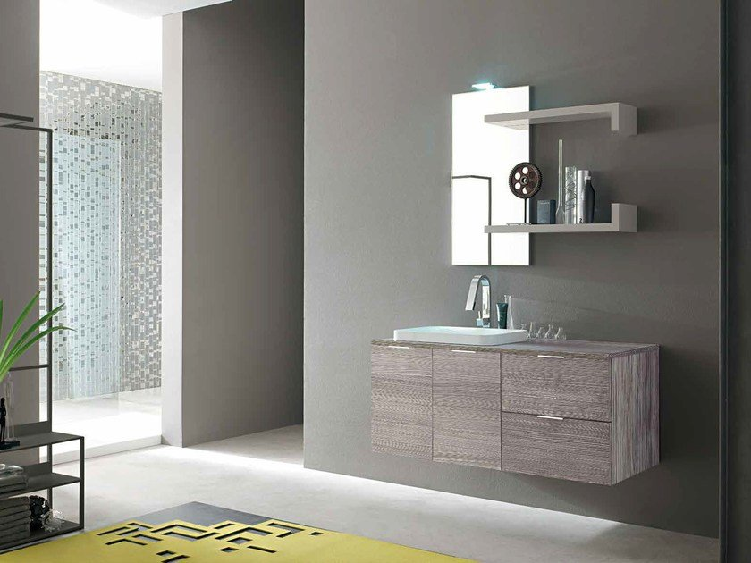 Single wooden vanity unit E.LY - COMPOSITION 43 by Arcom