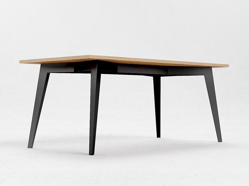 Rectangular steel and wood table E5 by ODESD2