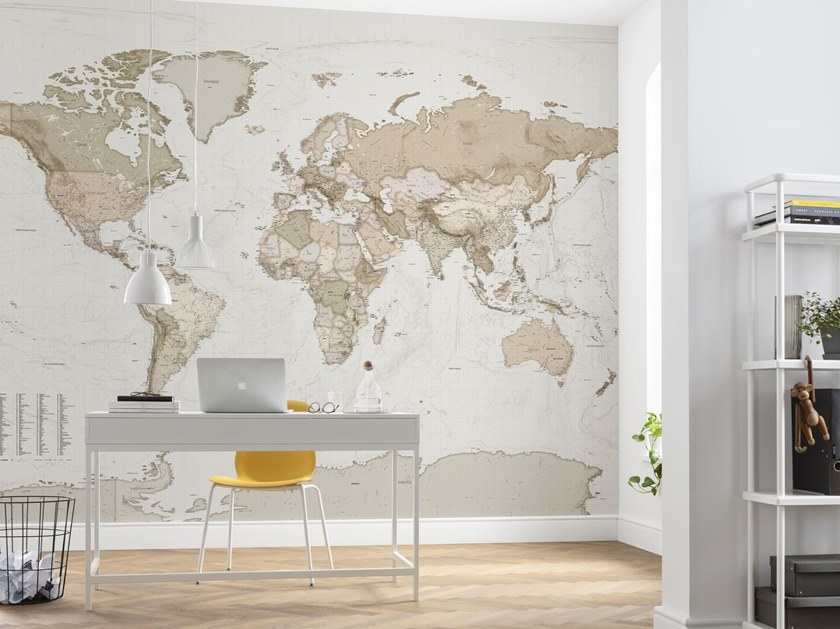 Nonwoven wallpaper with map EARTH MAP by Komar
