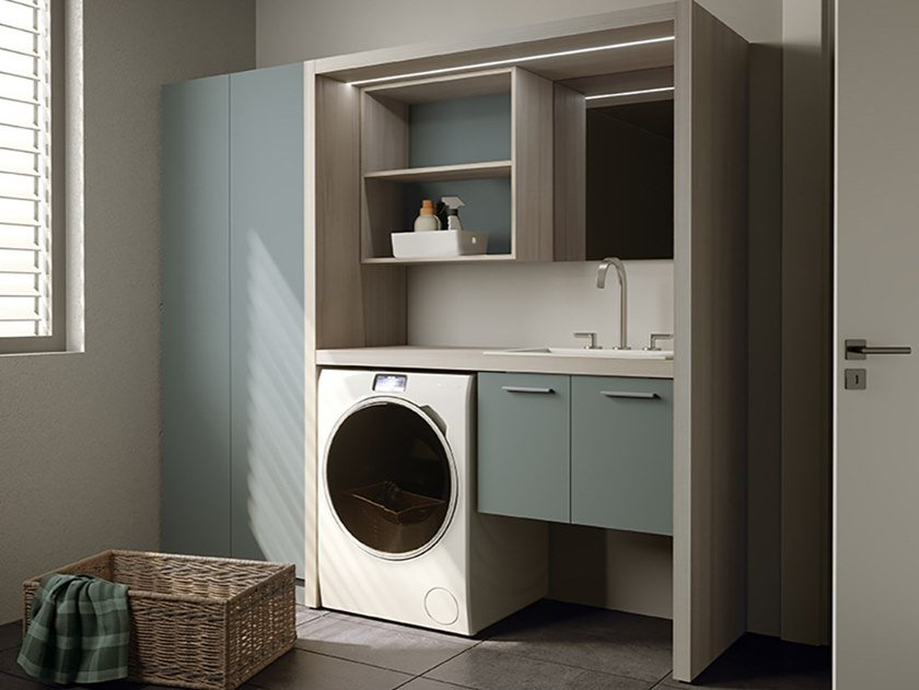 Sectional laundry room cabinet for washing machine EASY 12 Easy Collection  By MOBIL CRAB