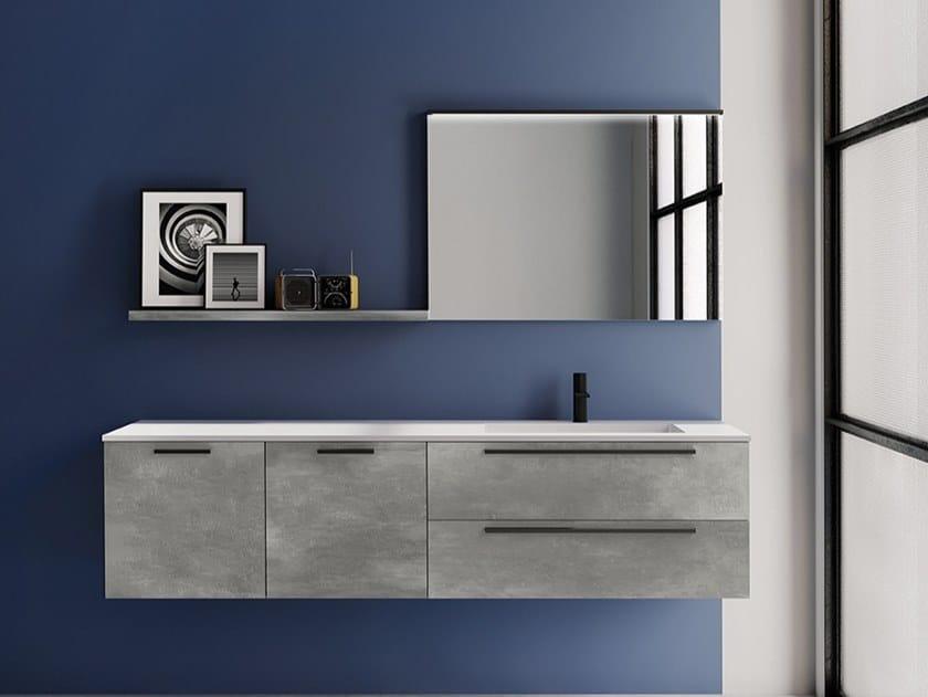 Mobile lavabo sospeso in HPL con cassetti EASY 3 by MOBIL CRAB