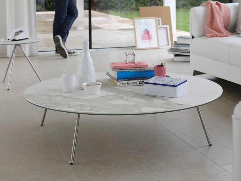 Low Xeramica coffee table for living room EASY-4   Round coffee table by Joli