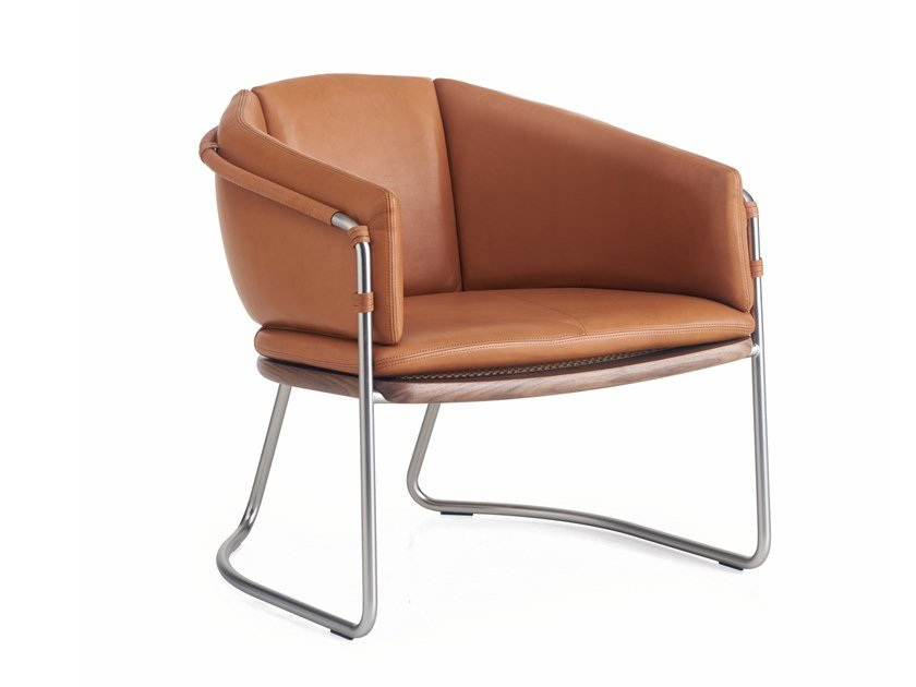 Sled base upholstered leather easy chair with armrests GEOMETRIC | Easy chair by BassamFellows