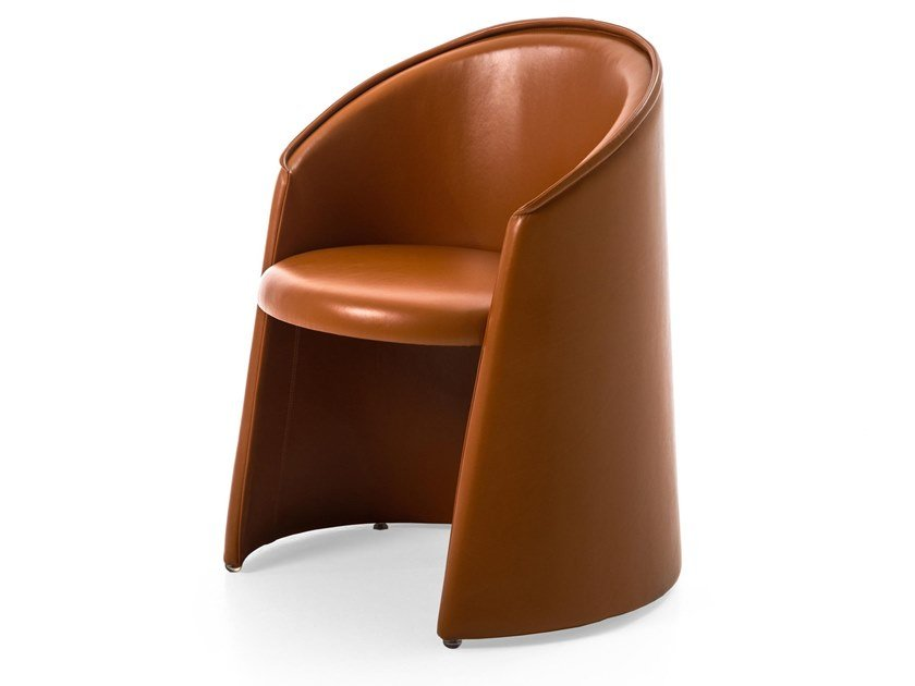 Upholstered leather easy chair with armrests HUSK | Leather easy chair by Moroso