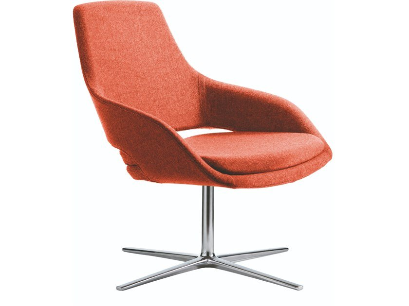 Fabric easy chair with 4-spoke base with armrests CAPTAIN LOUNGE   Easy chair with 4-spoke base by JESSE