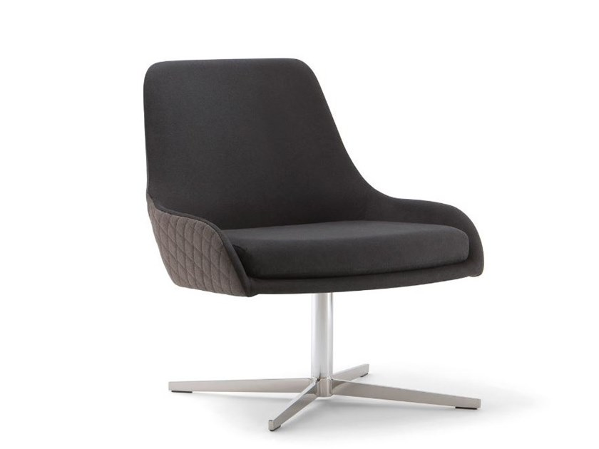 Fabric easy chair with 4-spoke base JO   Easy chair with 4-spoke base by Tirolo