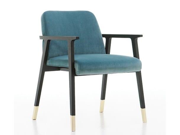 Upholstered velvet easy chair with armrests TENUES   Easy chair with armrests by Cizeta L'Abbate