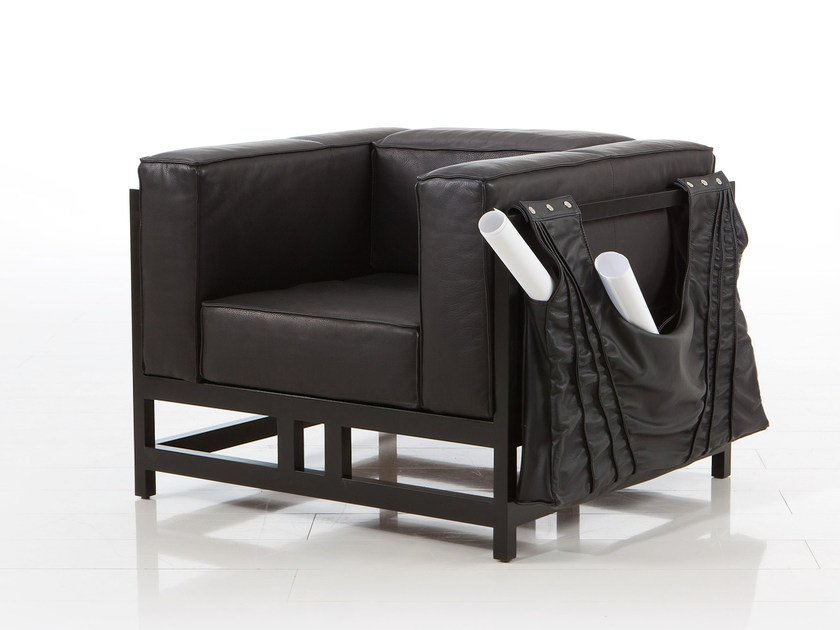 Leather armchair with armrests EASY PIECES | Leather armchair by brühl