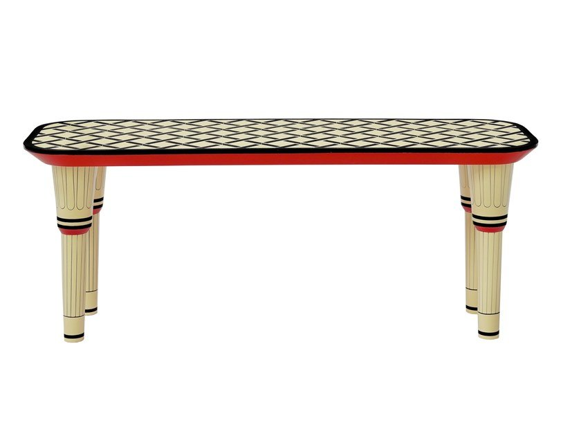 Lacquered wooden bench EASY STREET by Scarlet Splendour