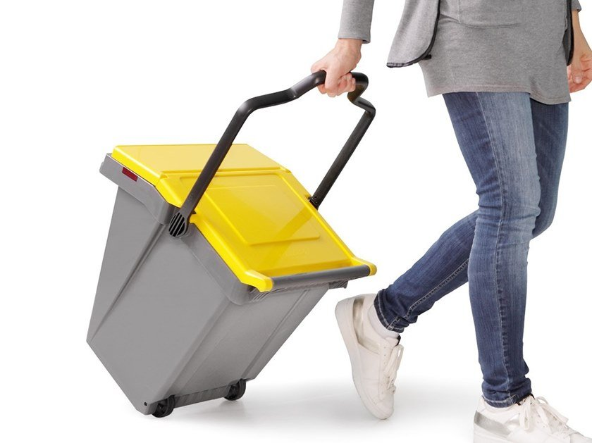 Litter bin with lid for waste sorting EASY TROLLEY by MATTIUSSI ECOLOGIA