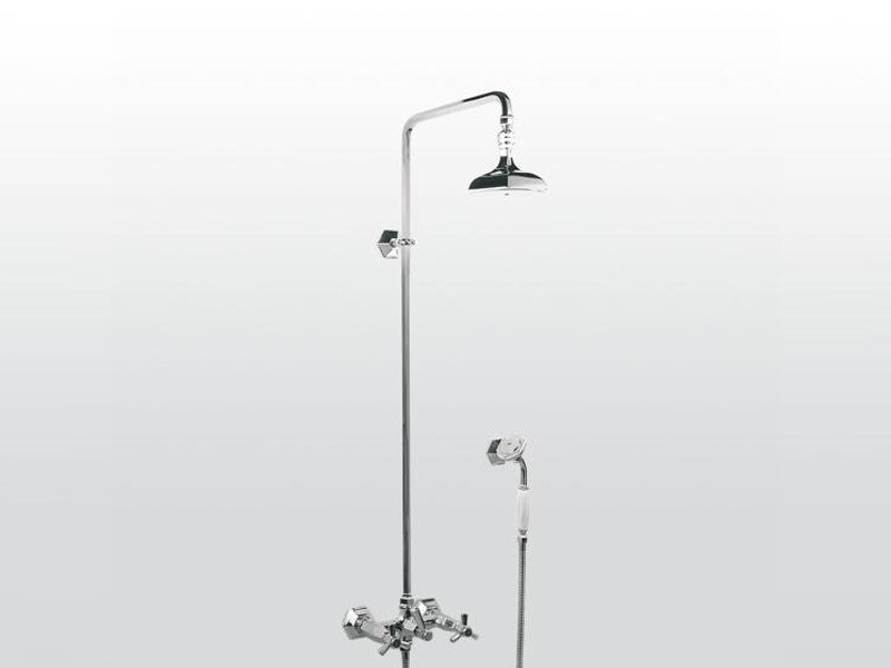 Wall-mounted shower panel with hand shower with overhead shower ECCELSA 3284/33 by RUBINETTERIE STELLA