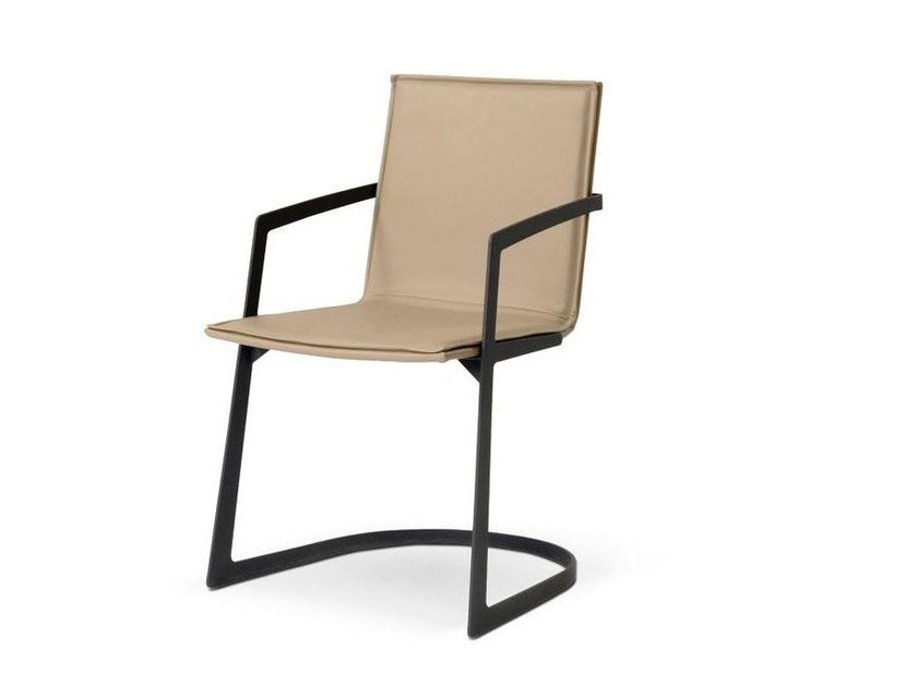 Cantilever tanned leather chair with armrests ECHOES by ROCHE BOBOIS