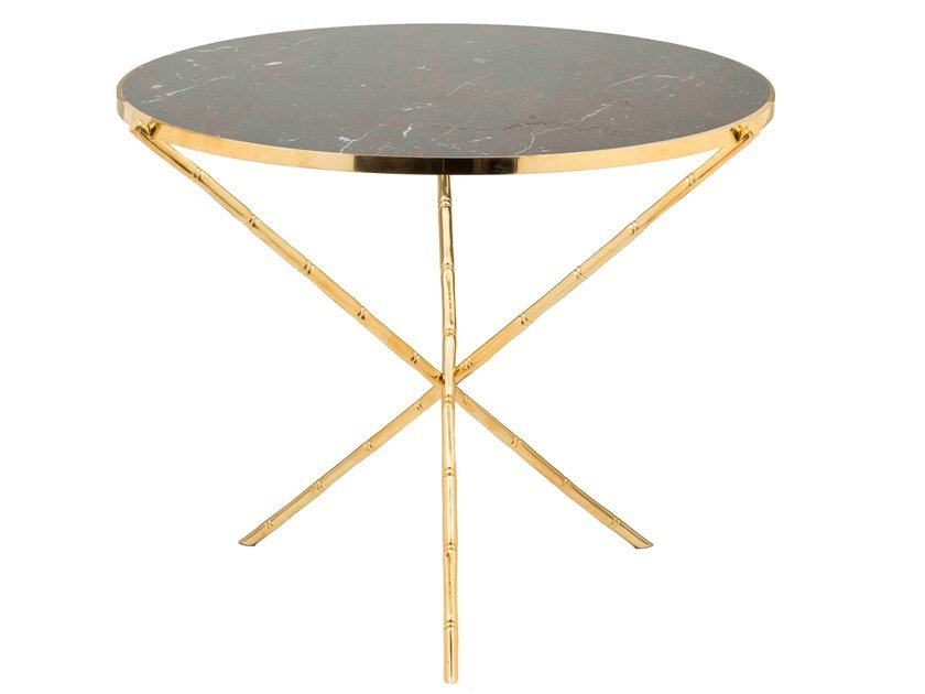 Round brass coffee table ECLECTIC BAMBOO 03 by Il Bronzetto