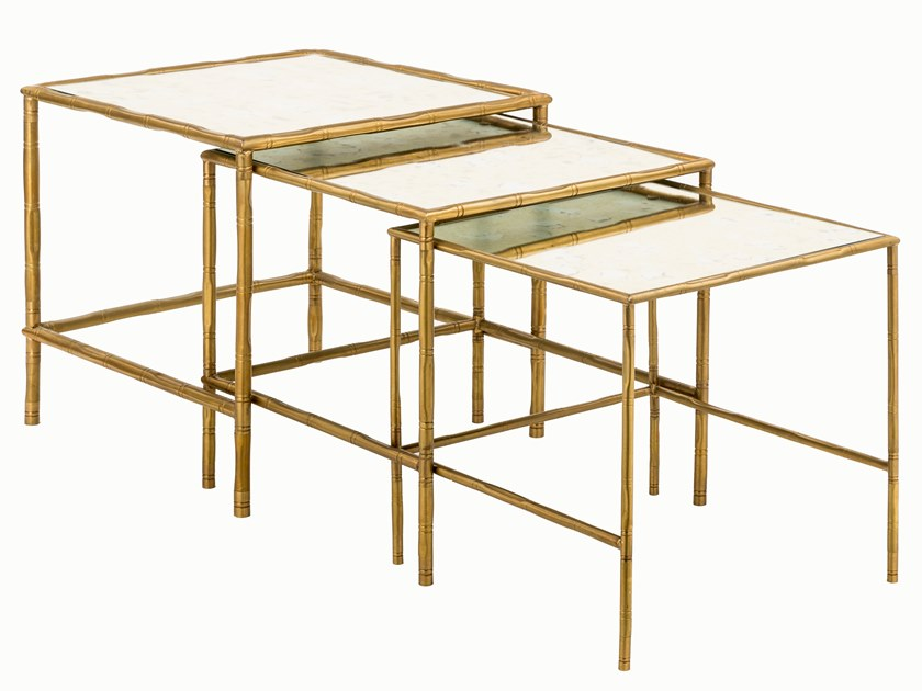 Square Brass Coffee Table Eclectic Bamboo 04 Tris Eclectic