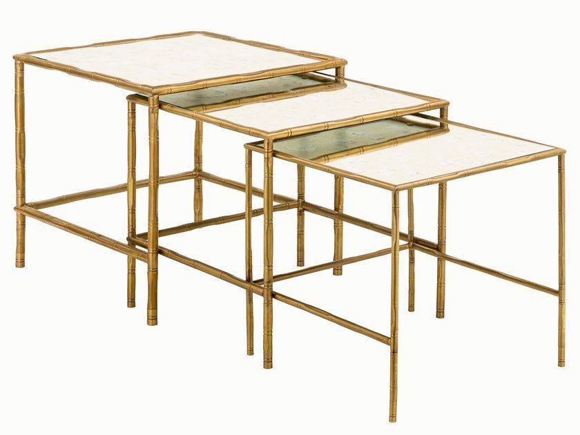 Square brass coffee table ECLECTIC BAMBOO 04 TRIS by Il Bronzetto