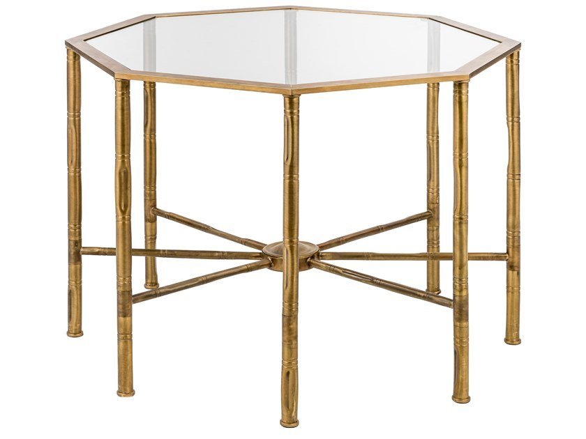 Octagonal brass coffee table ECLECTIC BAMBOO 05 by Il Bronzetto