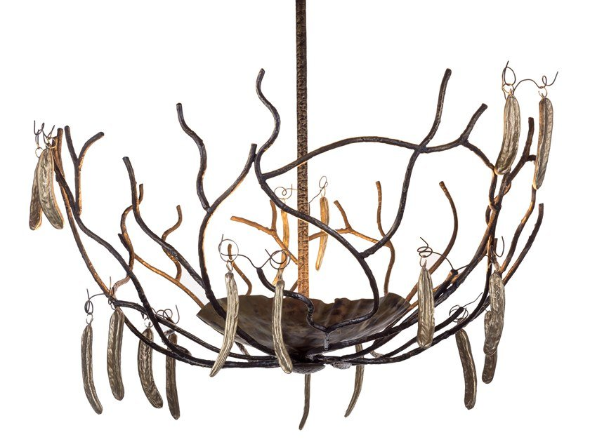 Brass chandelier ECLECTIC CARRUBO 01 by Il Bronzetto
