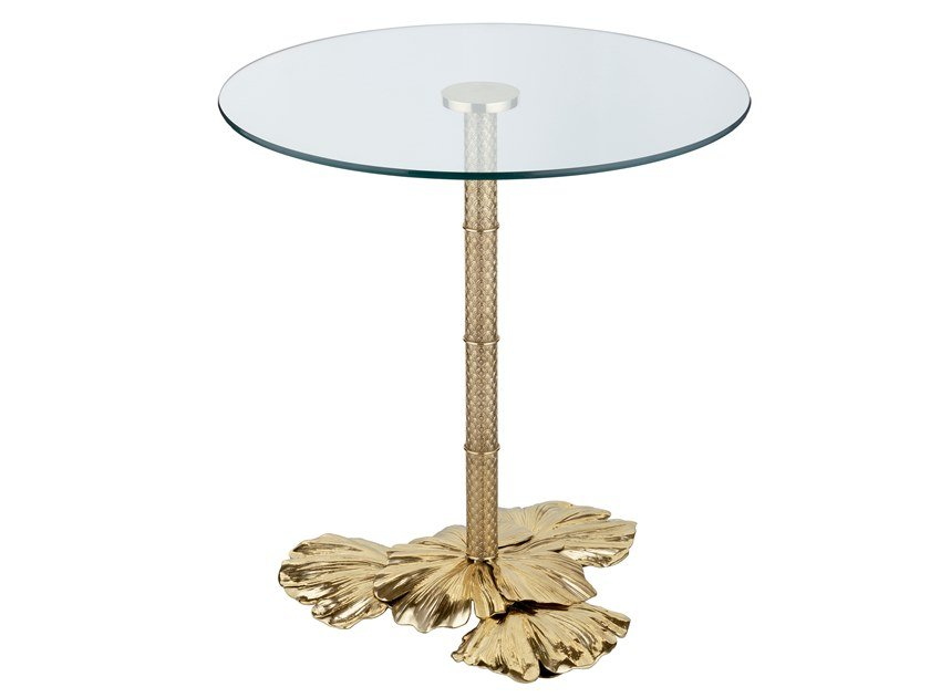 Round brass table ECLECTIC GINKO BILOBA 01 by Il Bronzetto