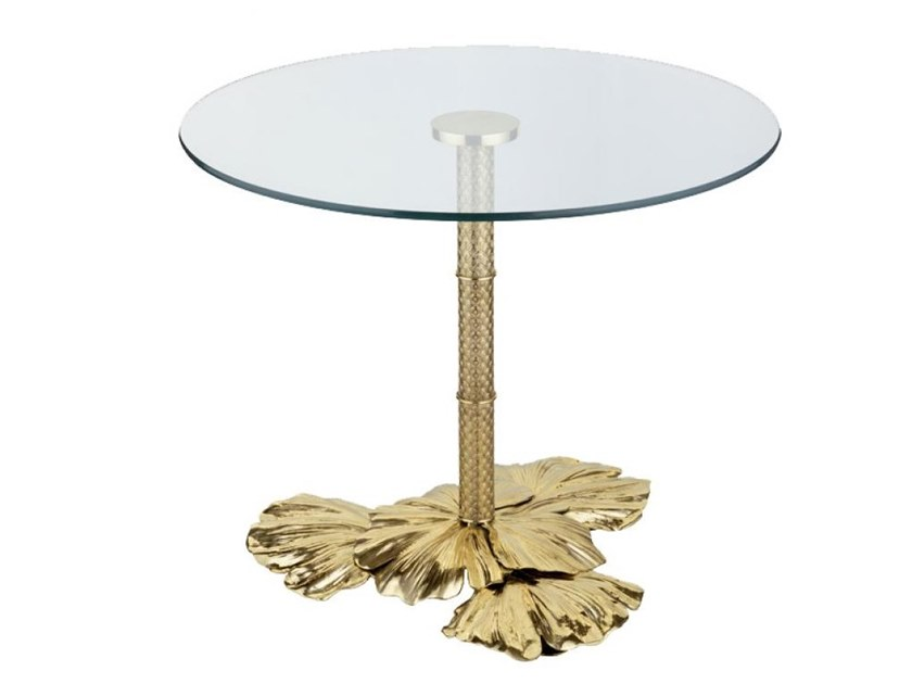 Round brass high side table ECLECTIC GINKO BILOBA 02 by Il Bronzetto