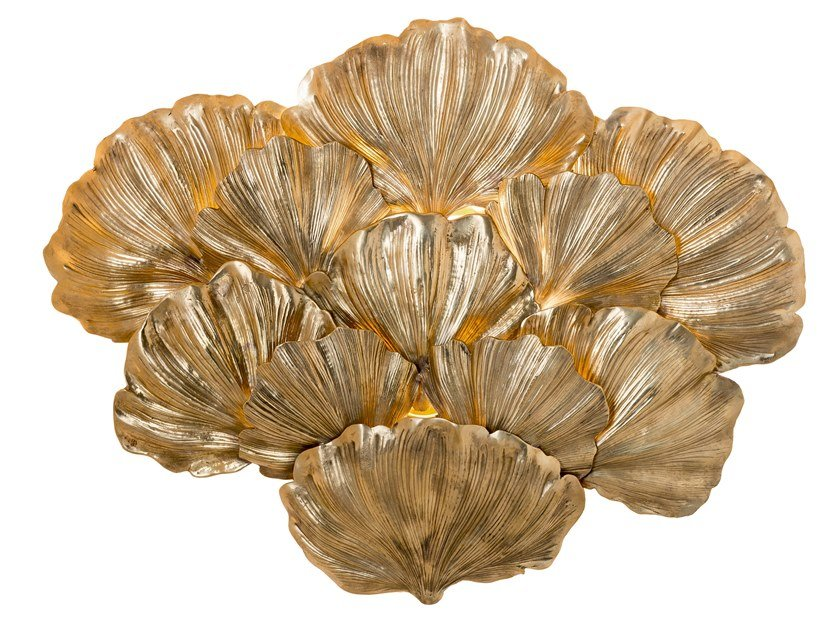 Brass wall light ECLECTIC GINKO BILOBA 03 by Il Bronzetto