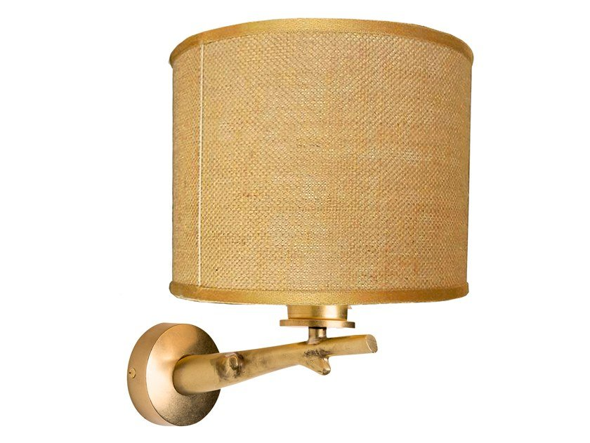 Jute wall light with fixed arm ECLECTIC QUERCIA 04 by Il Bronzetto