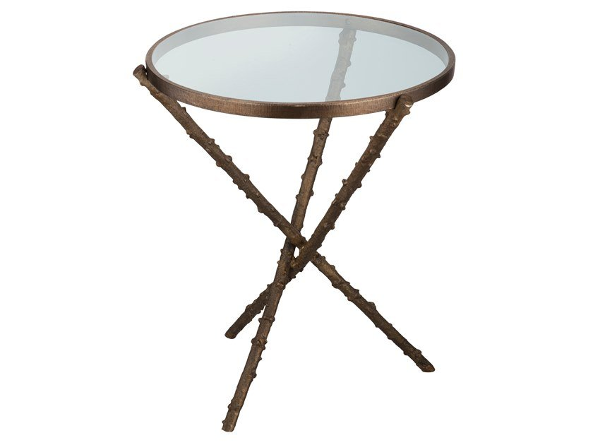 Round brass coffee table ECLECTIC ROSA CANINA 01 by Il Bronzetto