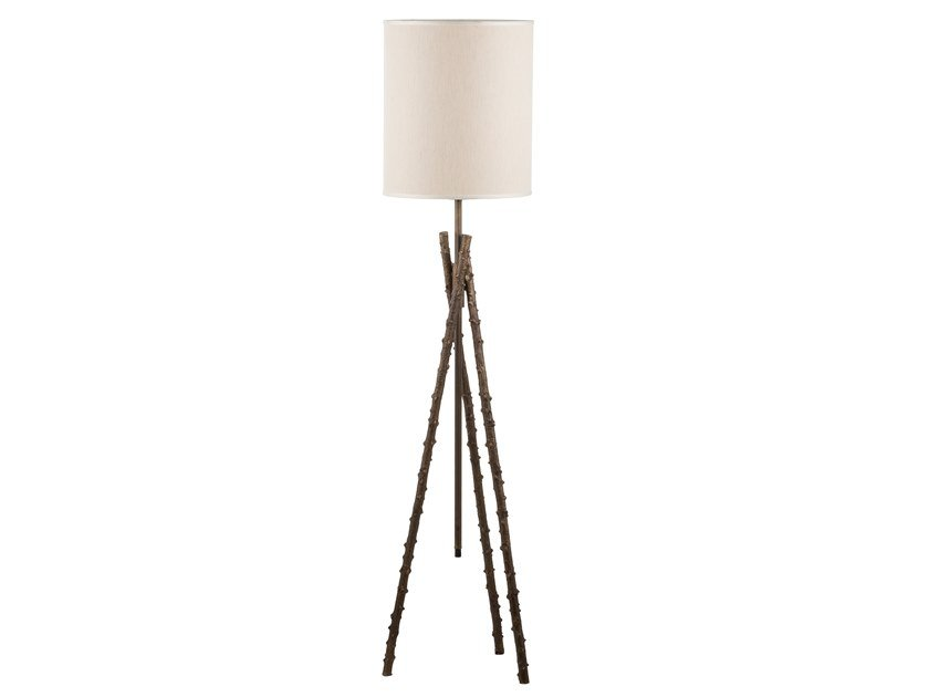 Brass floor lamp ECLECTIC ROSA CANINA 02 by Il Bronzetto