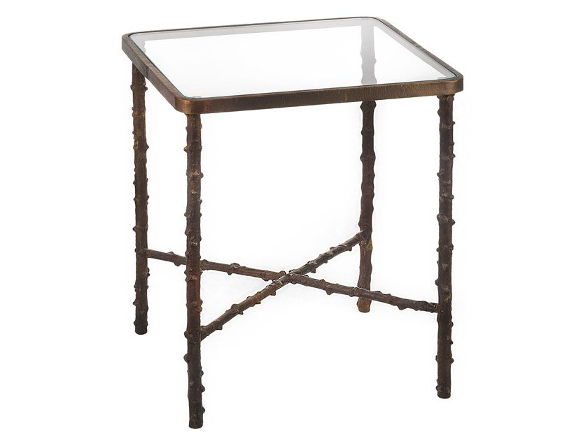 Square brass coffee table ECLECTIC ROSA CANINA 04 by Il Bronzetto