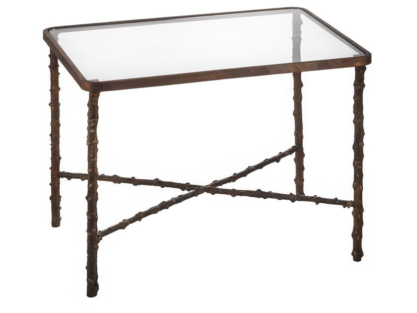 Rectangular brass coffee table ECLECTIC ROSA CANINA 05 by Il Bronzetto