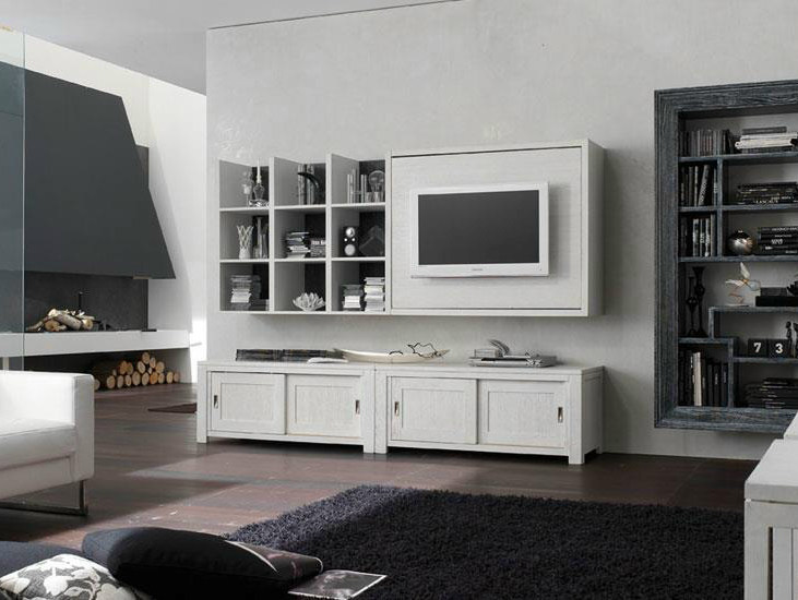 Wall-mounted lacquered TV wall system ECLETTICA DAY | Storage wall by Devina Nais
