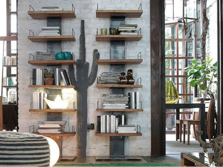 Wall-mounted solid wood bookcase INFINITY | Bookcase by Devina Nais
