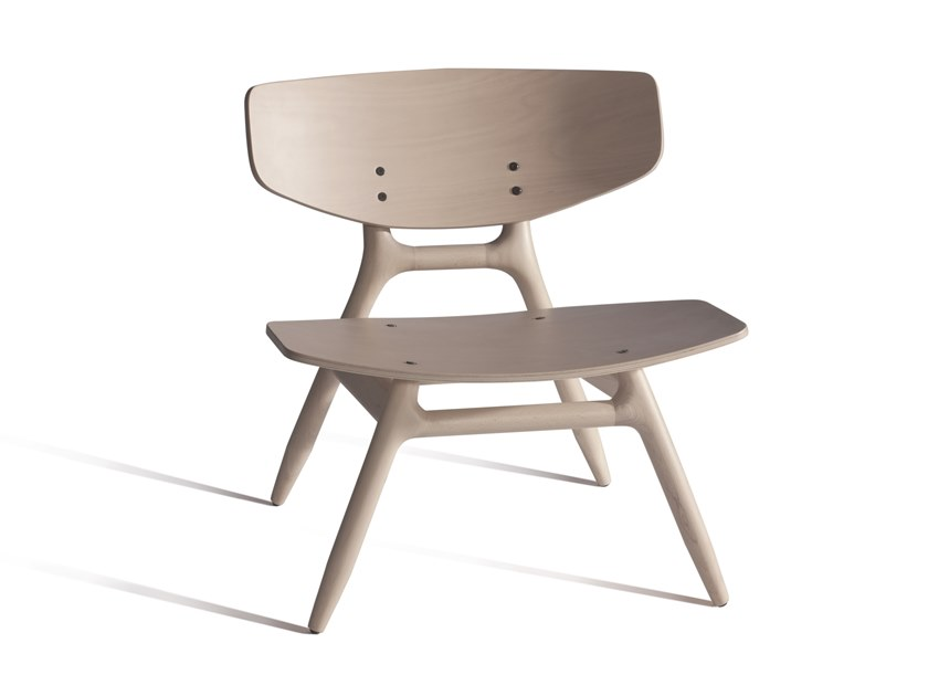 Stackable beech easy chair ECO 501M by Capdell