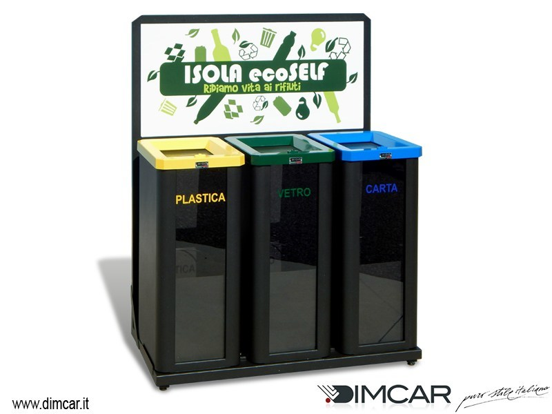 Steel litter bin with lid for waste sorting Isola ecoSELF by DIMCAR