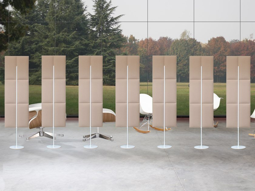 Sound absorbing free standing polyester fibre workstation screen ECODESK TOTEM by Slalom