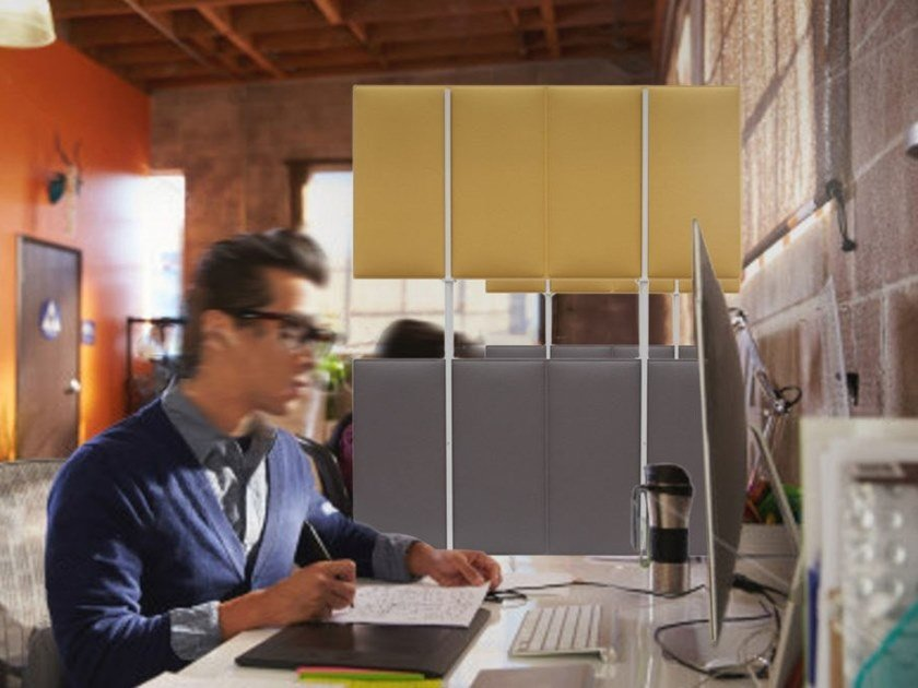 Polyester fibre workstation screen desktop partition ECODESK WINDOW by Slalom