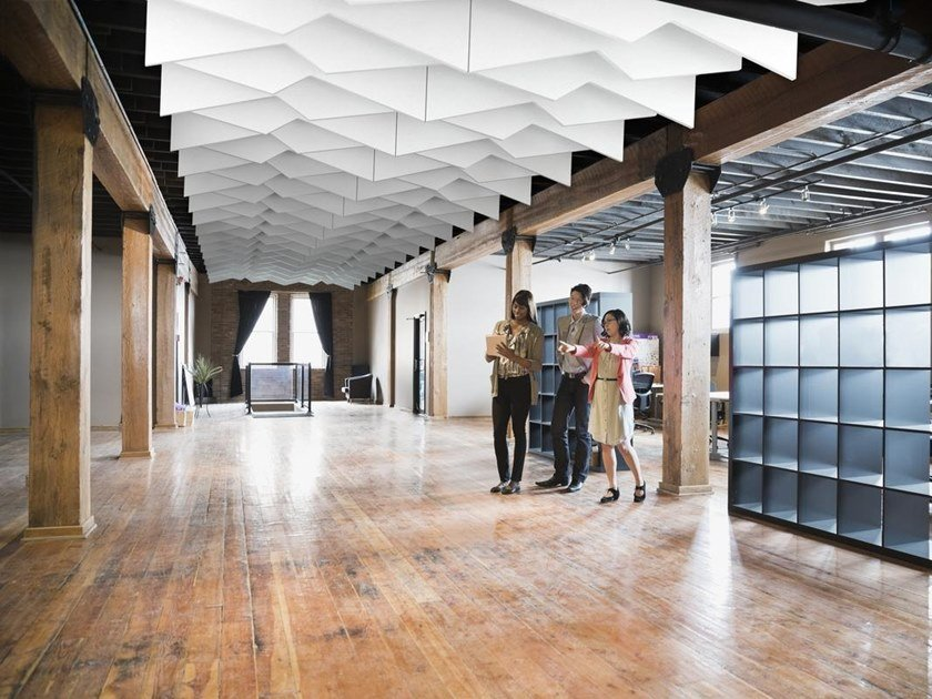 Glass wool acoustic baffles Ecophon Solo™ Baffle Zigzag by Saint-Gobain ECOPHON