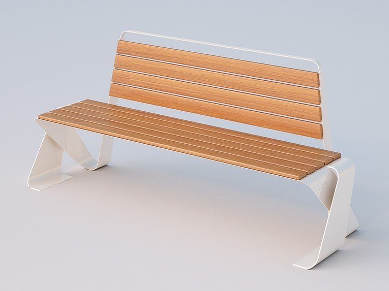 Steel and wood Bench with back EDDIE   Bench by DIMCAR