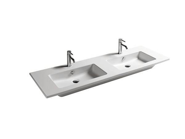 Double rectangular ceramic washbasin EDEN - 141 CM   Double washbasin by GALASSIA